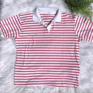 Red and White Striped Vintage Polo Medium